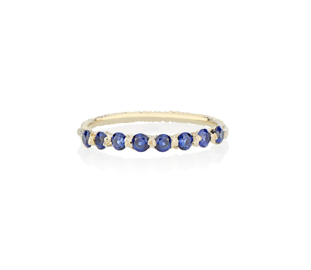 Royal Blue Sapphires cast not set in to 18kt Gold in model turned jeweler Jayne Moore's signature rebel set style using recycled refined golds and sustainable responsibly sourced stones, handmade in NYC