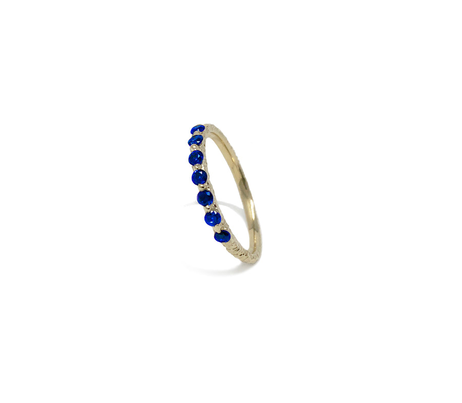 Delicate stacker ring, set with 2mm royal blue sapphires, cast not set #castnotset dainty sapphire ring sapphire eternity ring unique hand made sapphire ring jayne moore jewelry jane moore jayne moore nyc model jewelry handmade in nyc