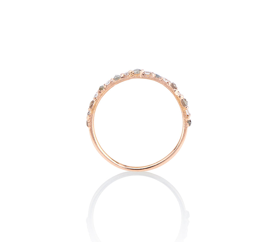 Unique cast not set ring shown in profile, unique setting style of model Jayne Moore Super dainty and delicate wedding ring band or stacker ring stackable diamond ring, set in rose gold, with tiny diamonds alternating rose cut grey diamonds and brilliant cut flawless diamonds cast not set, cast in place, #castnotset , rebel set in a unique, one of a kind elegant slim ring