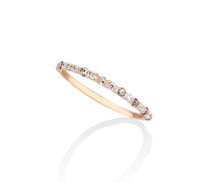 Model Jayne Moore makes jewelry Super dainty and delicate wedding ring band or stacker ring stackable diamond ring, set in rose gold, with tiny diamonds alternating rose cut grey diamonds and brilliant cut flawless diamonds cast not set, cast in place, #castnotset , rebel set in a unique, one of a kind elegant slim ring