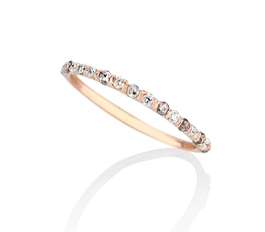 Super dainty and delicate wedding ring band or stacker ring stackable diamond ring, set in rose gold, with tiny diamonds alternating rose cut grey diamonds and brilliant cut flawless diamonds cast not set, cast in place, #castnotset , rebel set in a unique, one of a kind elegant slim ring