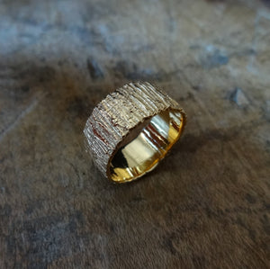 Bold unique bark textured wedding band, Contemporary ring Unisex wedding band, Bark Ring TERNYC texture NYC designer jewelry mens rings bold rings TERMEN 18kt gold  made in NYC