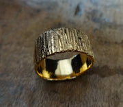 Bold unique bark textured wedding band, Contemporary ring Unisex wedding band, Bark Ring TERNYC texture NYC designer jewelry mens rings bold rings TERMEN 18kt gold handmade in NYC recycled metals by model jayne moore designer writer jayne moore
