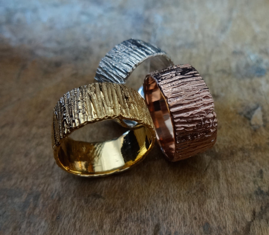 Bold unique bark textured wedding band, Contemporary ring Unisex wedding band, Bark Ring TERNYC texture NYC designer jewelry mens rings bold rings TERMEN 18kt gold mixed metals handmade handmade in NYC recycled metals by model jayne moore designer writer jayne moore
