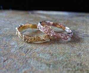 Textured Gold Stackable stacker stacking rings, 18 karat rose gold, solid yellow gold, earthy organic texture, sustainable fashion, beautiful earth, made in NYC, made in the USA