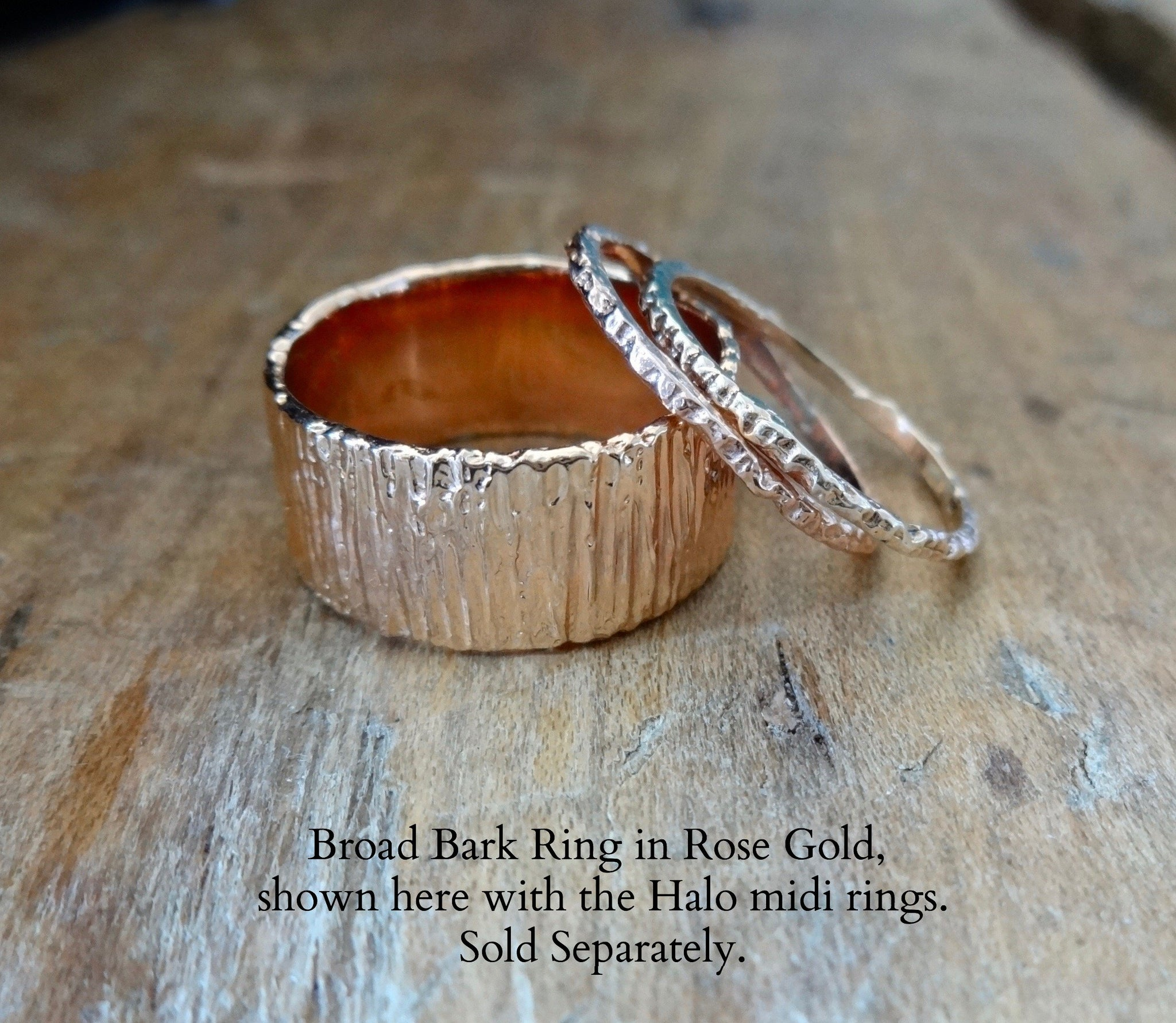 the bark ring - a richly textured, bark inspired gold ring   unique