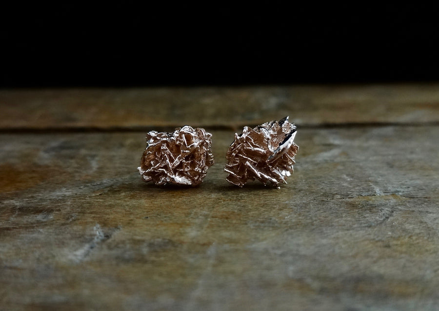 Unique rose gold earrings, earthy natural raw organic textured earrings, 18kt rose gold studs, cool studs, contemporary earrings, sustainable fashion, made in NYC, made in the USA