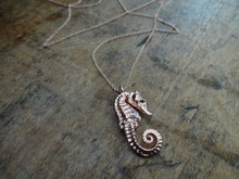 Tiny seahorse necklace, rose gold seahorse gold seahorse 18kt seahorse pendant