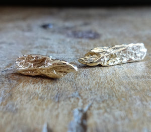 Unique contemporary Earrings, cast from real driftwood, richly textured fine gold, female entrepreneur, ladyboss, lady boss, girl boss NYC, 18kt rose gold, Royal Gold, refined recycled metals, sustainable fashion, handmade in NYC