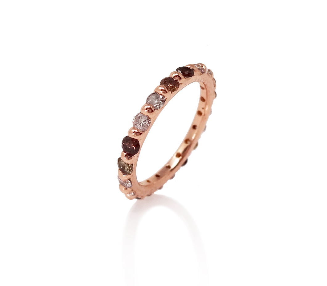 alternative eternity ring eternity band chocolate diamonds cognac diamonds grey diamonds infinity ring designer jayne moore writer