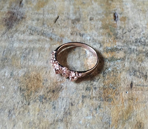 Raw, textured, earthy, salt crystal, nugget ring. Elegant but Earthy, rural influence on urban style. Rich textured Rose Gold Ring. Striking, stackable, jagged little pill ring, TERNYC