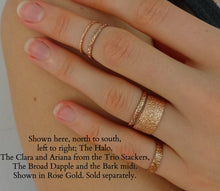 rainy dainty stacker rings dainty midi ring small elegant sparkly midi ring hand textured ring elegant rings made in nyc by Jayne Moore with recycled and refined golds