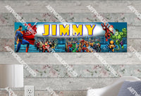 Personalized/Customized Super Hero Poster, Border Mat and Frame Options Banner 104