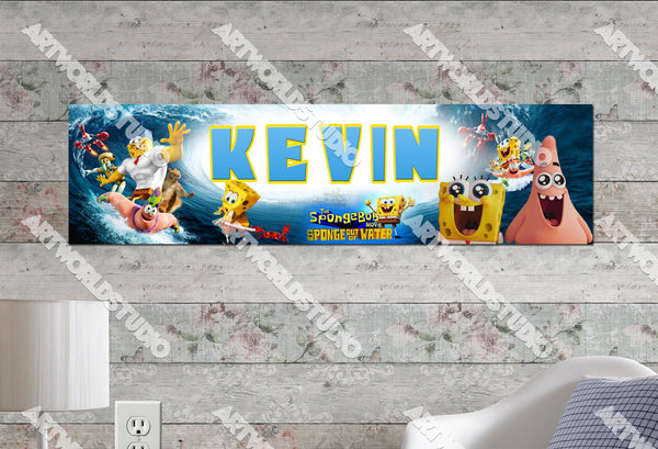 Personalized/Customized Sponge Bob Movie #2 Poster, Border Mat and Frame Options Banner 111-2