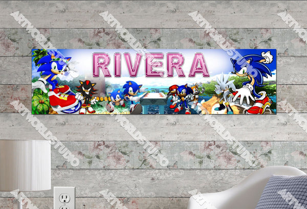 Personalized/Customized Sonic the Hedgehog Poster, Border Mat and Frame Options Banner 136