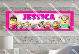 Personalized/Customized Girl Minions #3 Poster, Border Mat and Frame Options Banner 146-3