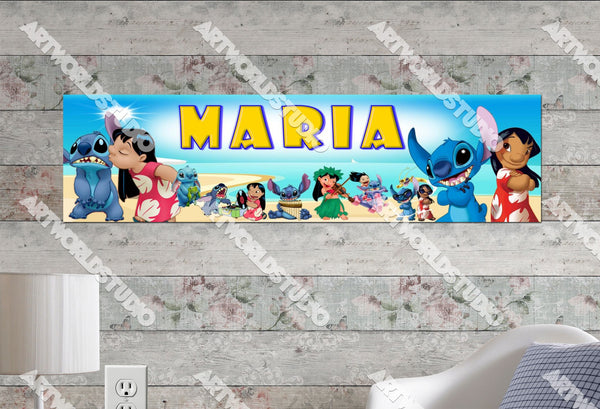 Personalizedcustomized Lilo And Stitch Poster Border Mat And Frame