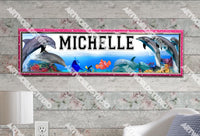 Personalized/Customized Dolphins Poster, Border Mat and Frame Options Banner 304