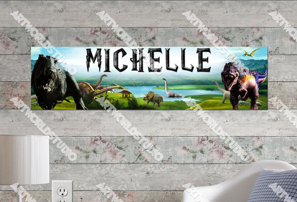 Personalized/Customized Dinosaurs Poster, Border Mat and Frame Options Banner 312
