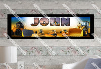 Personalized/Customized Bulldozers Poster, Border Mat and Frame Options Banner 328
