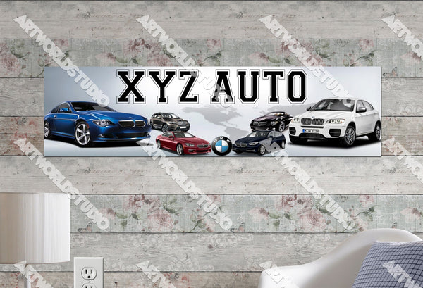 Personalized/Customized BMW Car Poster, Border Mat and Frame Options Banner 329