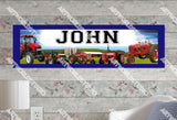 Personalized/Customized Red John Deere Tractors Poster, Border Mat and Frame Options Banner 341