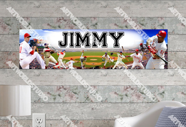 Personalized/Customized Philadelphia Phillies #1 Poster, Border Mat and Frame Options Banner 426