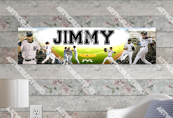 Personalized/Customized New York NY Yankees Poster, Border Mat and Frame Options Banner 428