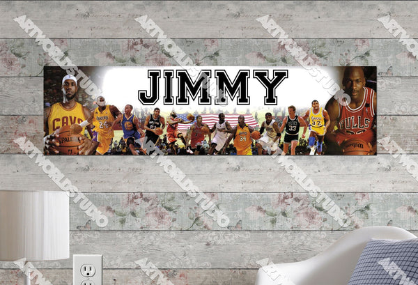Personalized/Customized NBA Superstars #2 Poster, Border Mat and Frame Options Banner 434-2