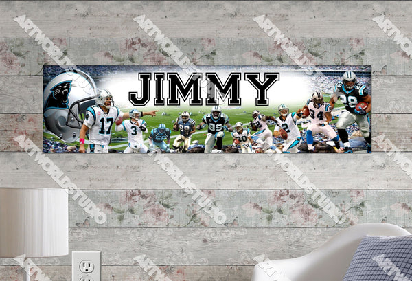 Personalized/Customized Carolina Panthers Poster, Border Mat and Frame Options Banner 437