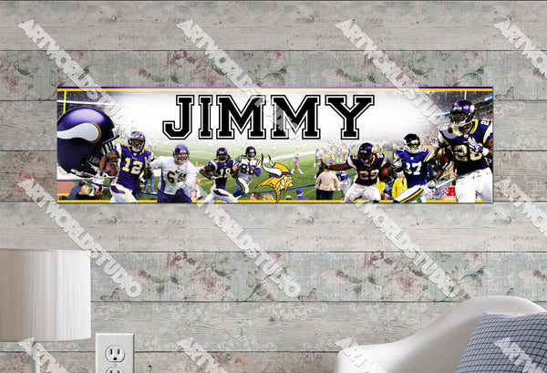 Personalized/Customized Minnesota Vikings Poster, Border Mat and Frame Options Banner 446