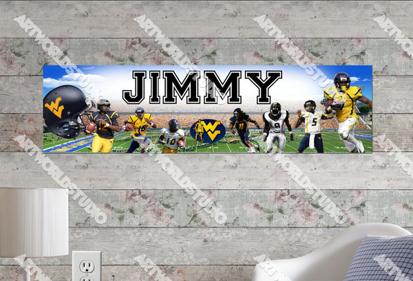 Personalized/Customized West Virginia Mountaineers Poster, Border Mat and Frame Options Banner 447