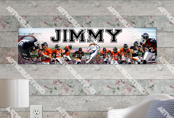 Personalized/Customized Denver Broncos Poster, Border Mat and Frame Options Banner 452