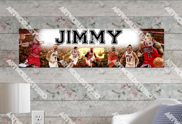 Personalized/Customized Chicago Bulls Poster, Border Mat and Frame Options Banner 456