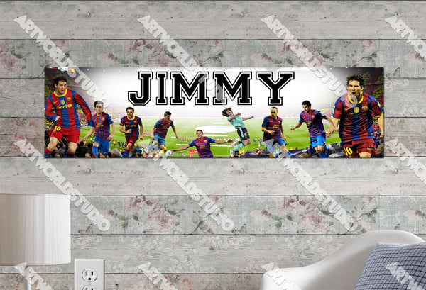 Personalized/Customized FC Barcelona Messi Poster, Border Mat and Frame Options Banner 460