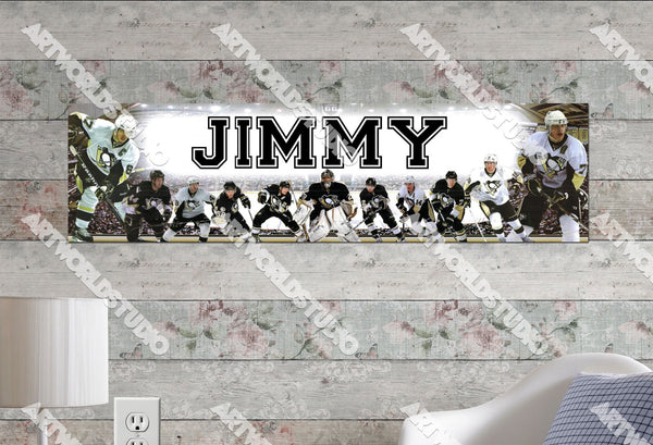 Personalized/Customized Pittsburgh Penguins Poster, Border Mat and Frame Options Banner 464