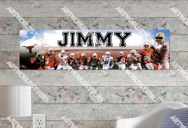 Personalized/Customized Texan Longhorns Poster, Border Mat and Frame Options Banner 465
