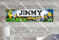Personalized/Customized Brazil National Football Team Poster, Border Mat and Frame Options Banner 471