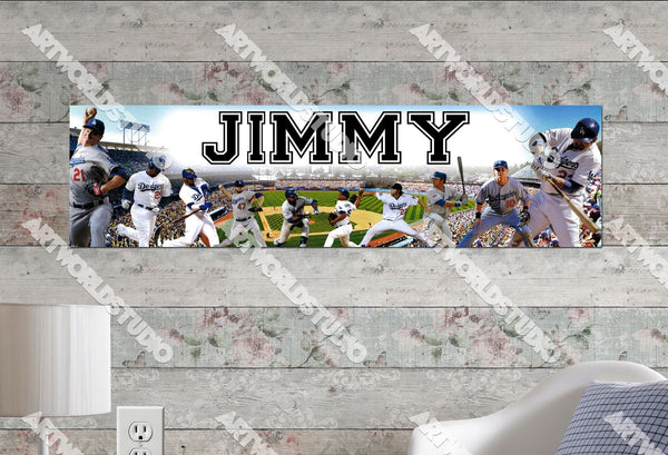 Personalized/Customized Los Angeles LA Dodgers #2 Poster, Border Mat and Frame Options Banner 476-2