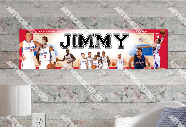 Personalized/Customized LA Los Angeles Clippers Poster, Border Mat and Frame Options Banner 479