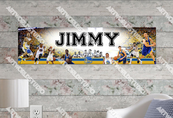 Personalized/Customized Golden State Warriors #1 Poster, Border Mat and Frame Options Banner 480
