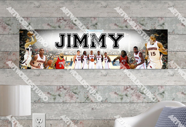 Personalized/Customized Atlanta Hawks Poster, Border Mat and Frame Options Banner 482