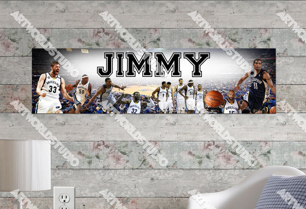 Personalized/Customized Memphis Grizzles Poster, Border Mat and Frame Options Banner 484