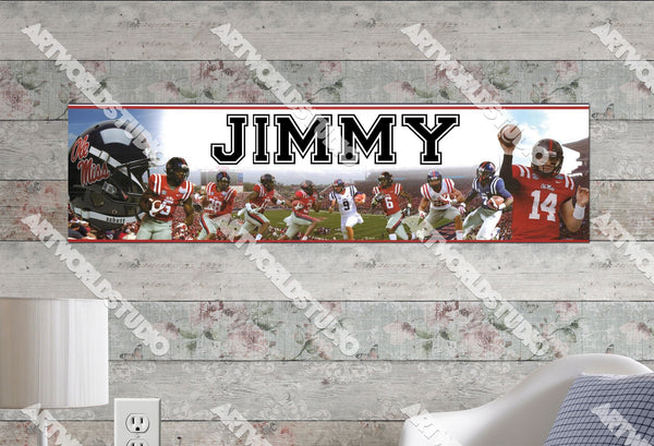Personalized/Customized Ole Miss Rebels Poster, Border Mat and Frame Options Banner 490