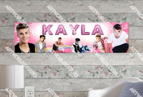 Personalized/Customized Justin Bieber #1 Poster, Border Mat and Frame Options Banner 513