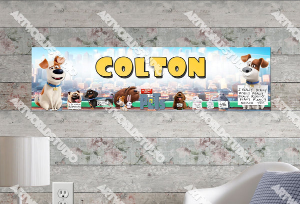 Personalized/Customized The Secret Life of Pets Movie Poster, Border Mat and Frame Options Banner C15