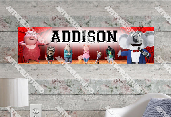 Personalized/Customized Sing Movie Poster, Border Mat and Frame Options Banner C16