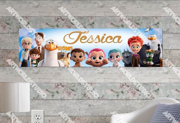 Personalized/Customized Storks Movie Poster, Border Mat and Frame Options Banner C17