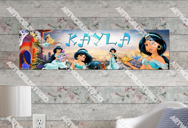 Personalized/Customized Disney Princess Jasmine Poster, Border Mat and Frame Options Banner C20