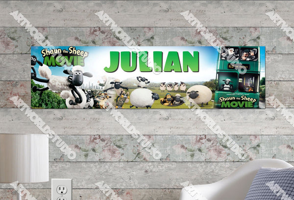 Personalized/Customized Shaun the Sheep Poster, Border Mat and Frame Options Banner C4